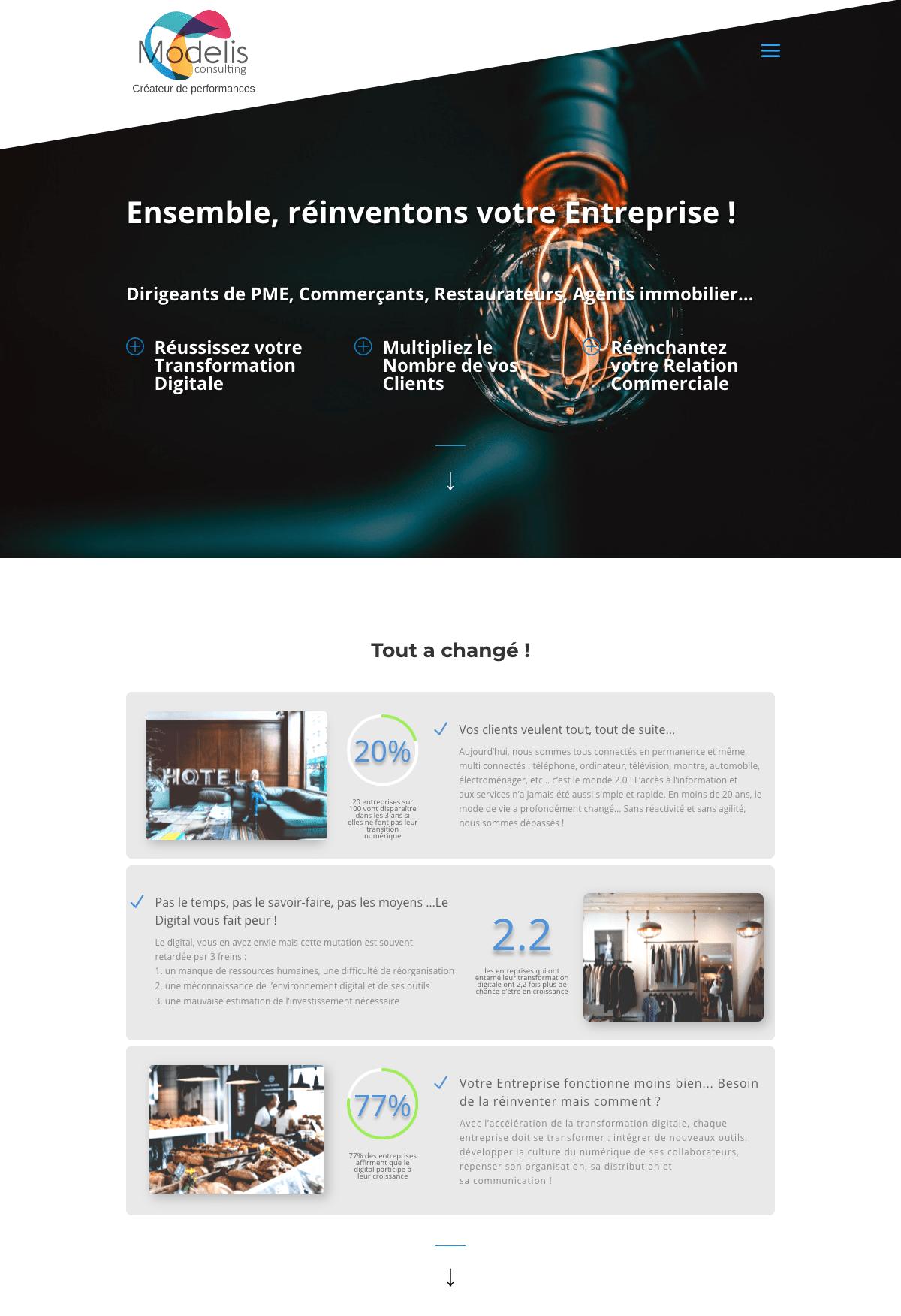 home page site vitrine sous divi et wordpress