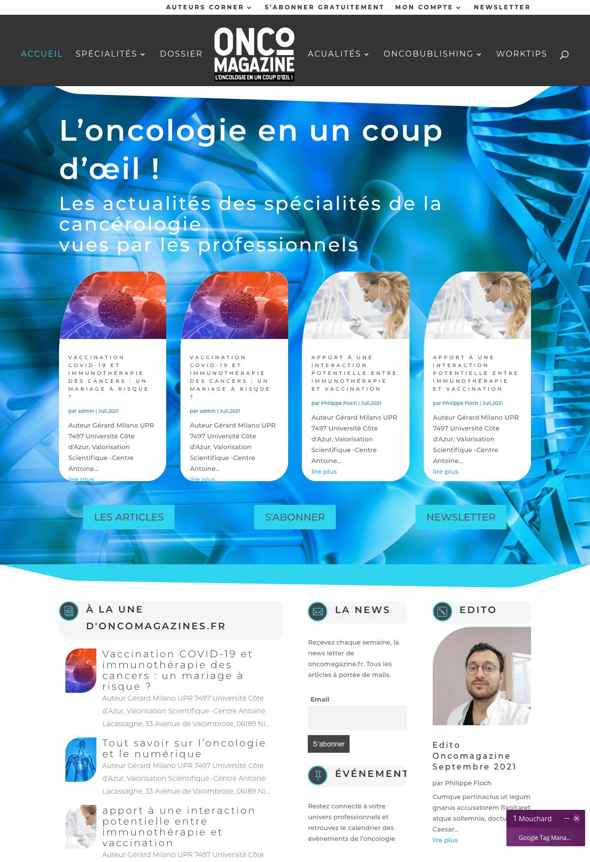 Création, organisation de la home page de oncomagazine